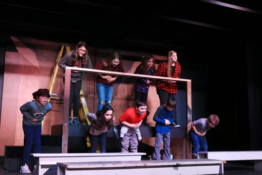 """Actors of all ages will perform in the musical """"Oliver!"""" on March 15-17 and March 22-24 at the Byng Community Theater in Abrams. Rehearsing for the show are, front row, from left: Sadie Smith, Maria Ronk, Nick Blaser, Gavin Runnerstrom and Sawyer Norman. Back row, from left: Jorgie Runnerstrom, Jaycie Norman, Alyssa Peterson and Alaina Blaser."""