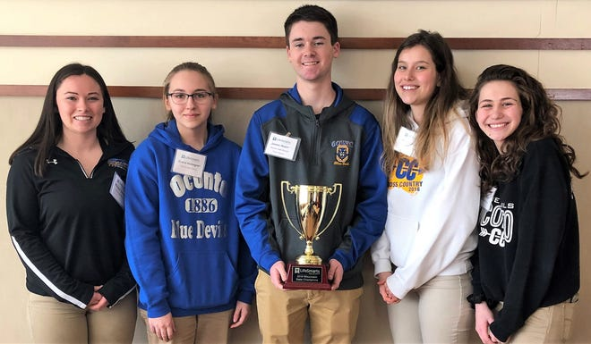 Members of the Oconto High School team that on March 1 won the state LifeSmarts competition are, from left,   Morgan Durand, Grace Holmgren, James Alwin, Karly Murphy and Jadyn Floyd. Durand, Alwin and Murphy are seniors who were on the team that won state and competed at the national tournament last year. Holmgren is a freshman and Floyd is a sophomore.