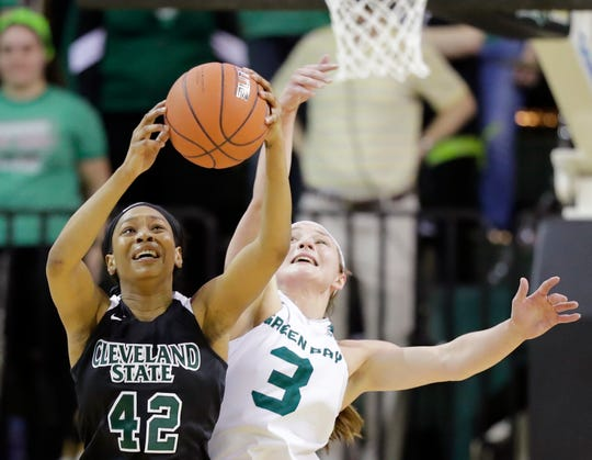 UW-Green Bay guard Frankie Wurtz (3) reaches for a rebound in a Horizon League Tournament quarterfinal last season.