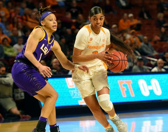 Tennessee's Evina Westbrook, right, drives against LSU's Jailin Cherry during the first half of an women's Southeastern conference NCAA basketball tournament game Thursday in Greenville.