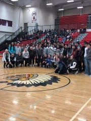 The Columbia Falls girls' basketball team stopped in Browning during a pep rally before this week's State A tourney in Great Falls to make amends for an ugly incident during the divisional tournament.