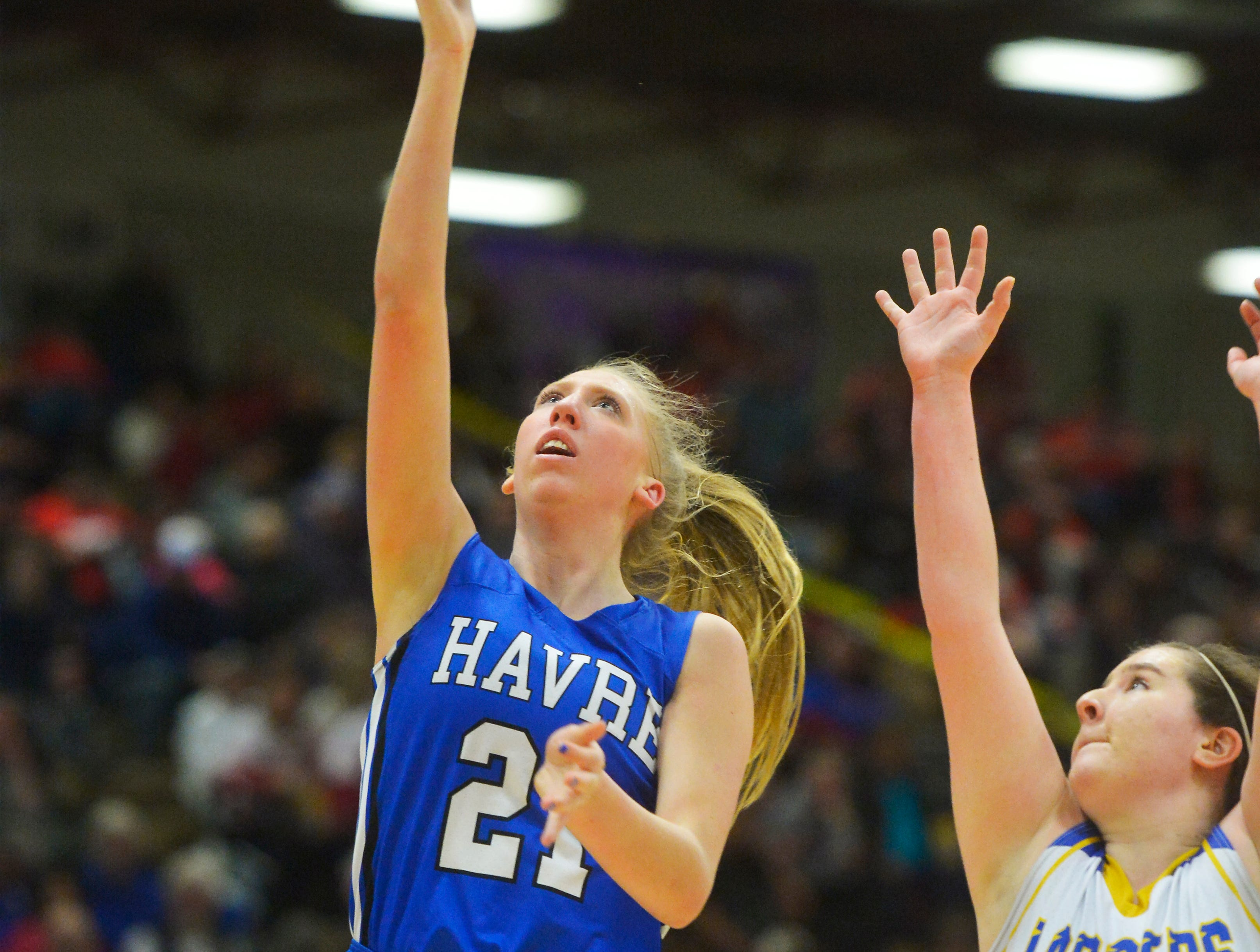 Havre's Kadia Miller shoots a layup during Thursday's game against Libby at the Class A State Basketball Tournament in the Four Seasons Arena.