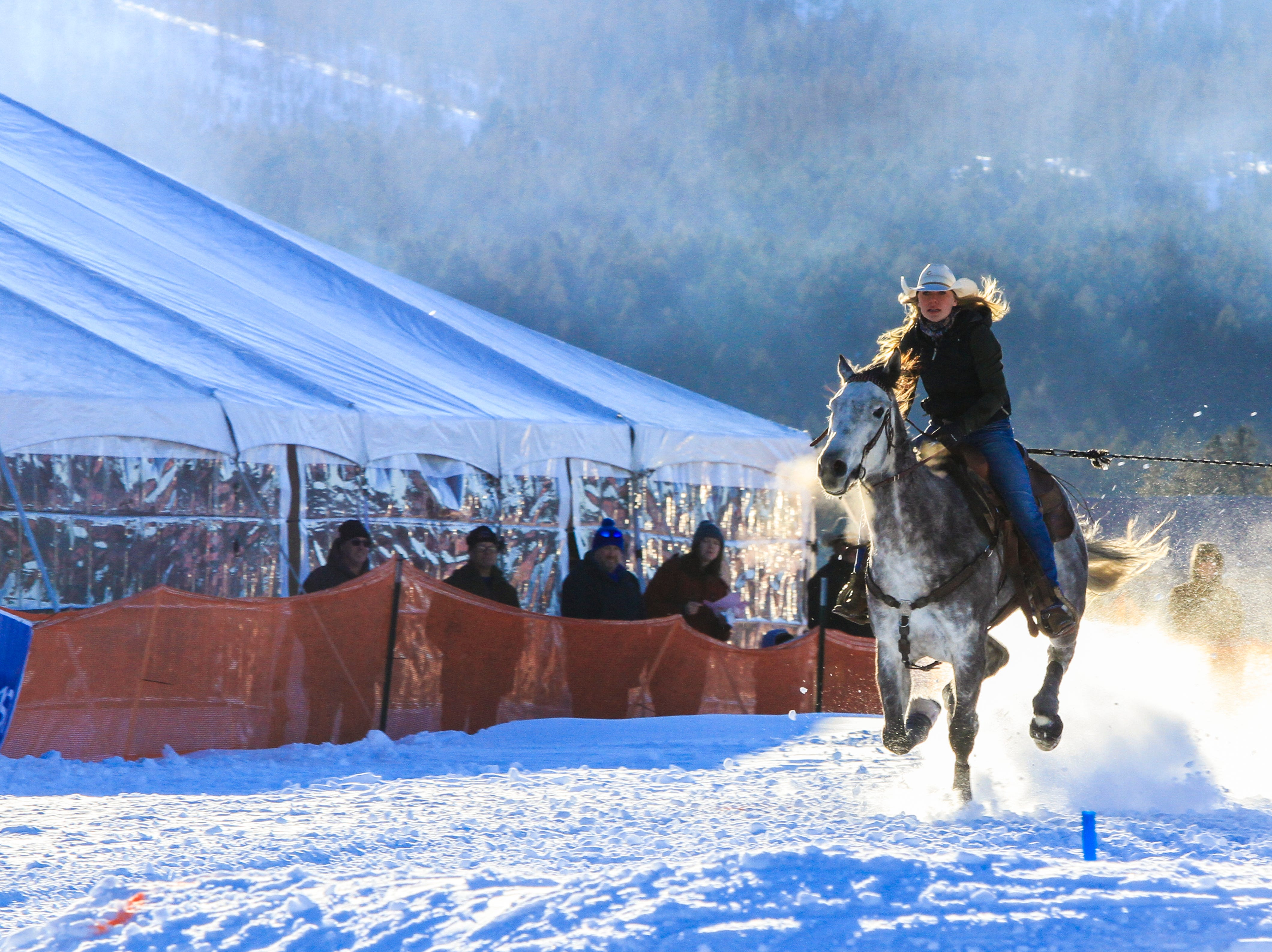 Rider Claudia Schmidt took home a first place win from Skijoring at Rebecca Farms