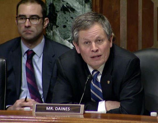 Sen. Steve Daines, R-Mont., asks about nursing homes Tuesday during a Senate committee hearing.