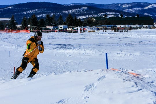 Great Falls skier, James Rowen, on his second run in the novice division.