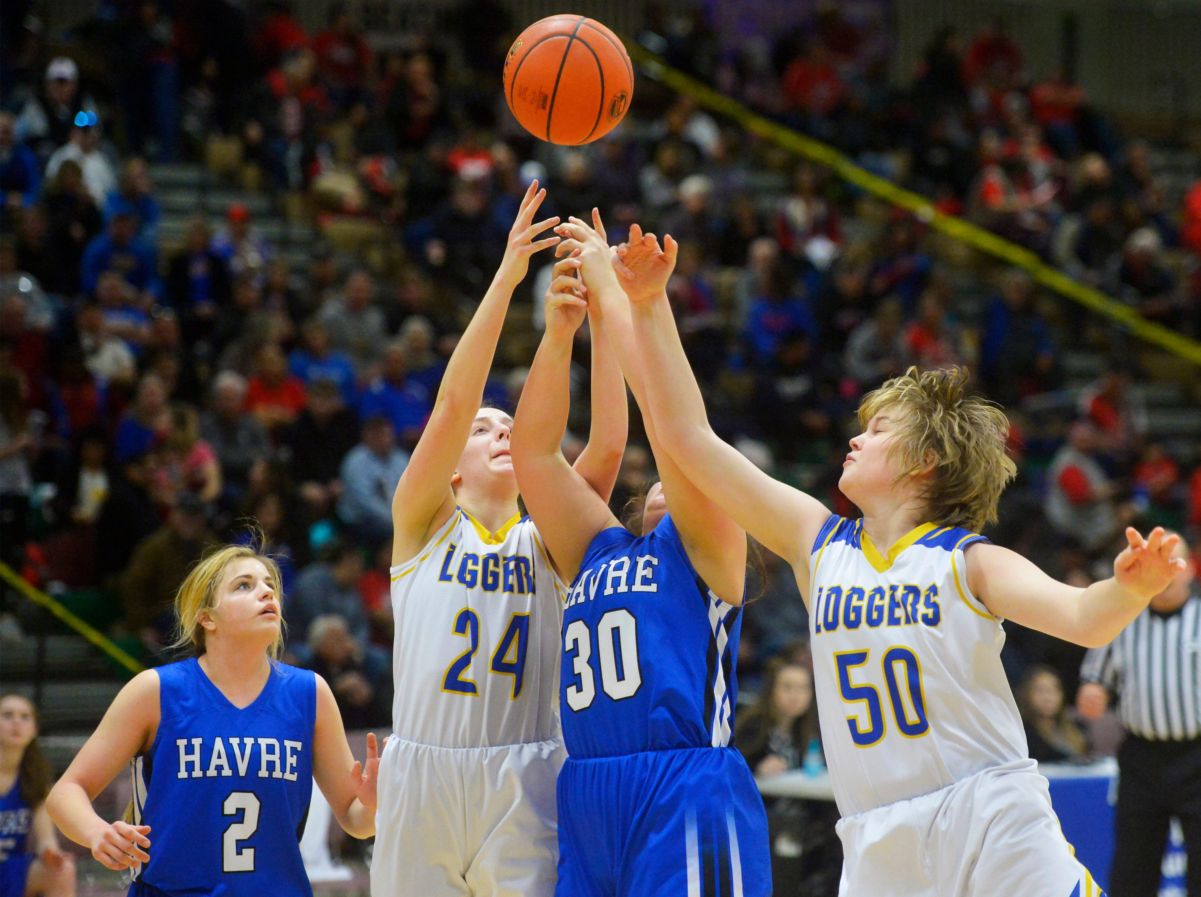 Havre and Libby play in the Class A Girls State Basketball Tournament on Thursday in the Four Seasons Arena.