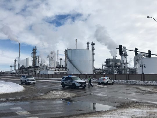 Great Falls Police diverted traffic away from the Calumet Refinery in Great Falls Thursday due to reports of a fire at the facility.