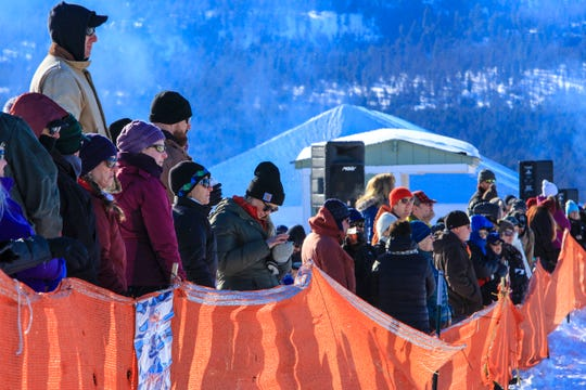 Skijoring visitors close to the action of the course on Sunday.