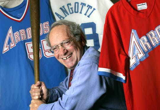 Art Angotti stands in front of Indianapolis Arrows jerseys in 2005. He was part of a group that tried to land a Major League Baseball team for the city in 1985.