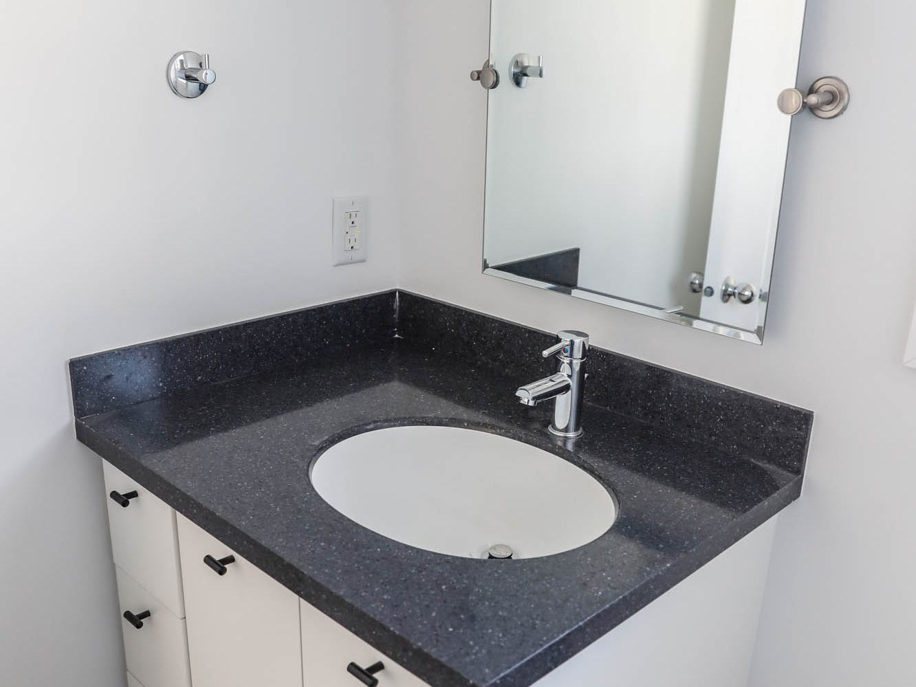 A newly remodeled home on Cruft St., bathroom shown here, affectionally known as the gray house is part of the Big Car Collaborative and Riley Area Development affordable artist home ownership program on the near south side of Indianapolis on Wednesday, March 6, 2019. The renovation of this home was done by Axis Architecture and Big Car board member Ursula David. The goal of the Artist and Public Life Residency (APLR), will be to provide artists with home ownership while they work and collaborate with the greater community.