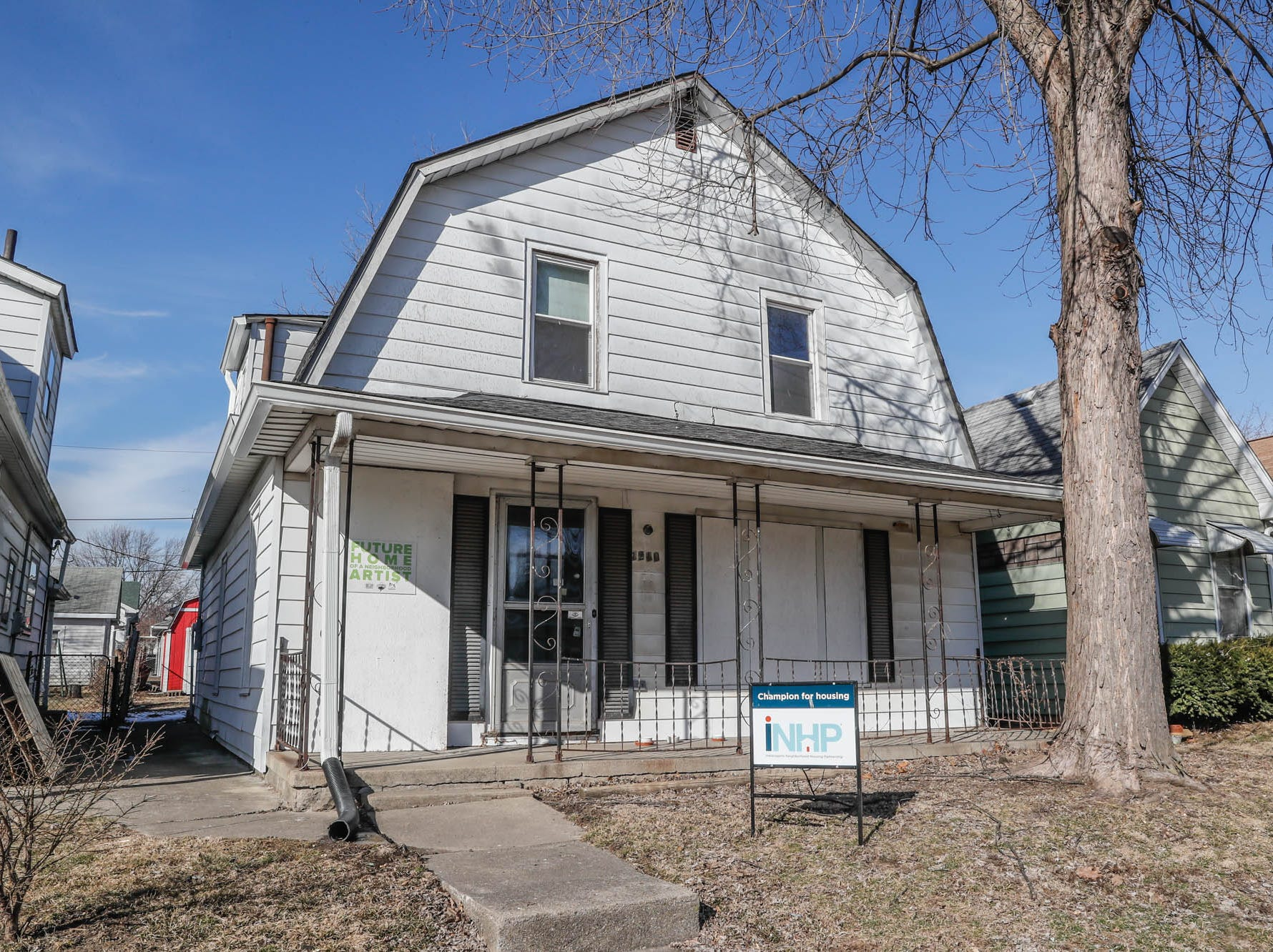 The 'barn house'  on Cruft St., will soon be renovated to be part of the Big Car Collaborative and Riley Area Development affordable artist home ownership program on the near south side of Indianapolis on Wednesday, March 6, 2019. The goal of the Artist and Public Life Residency (APLR), will be to provide artists with home ownership while they work and collaborate with the greater community.