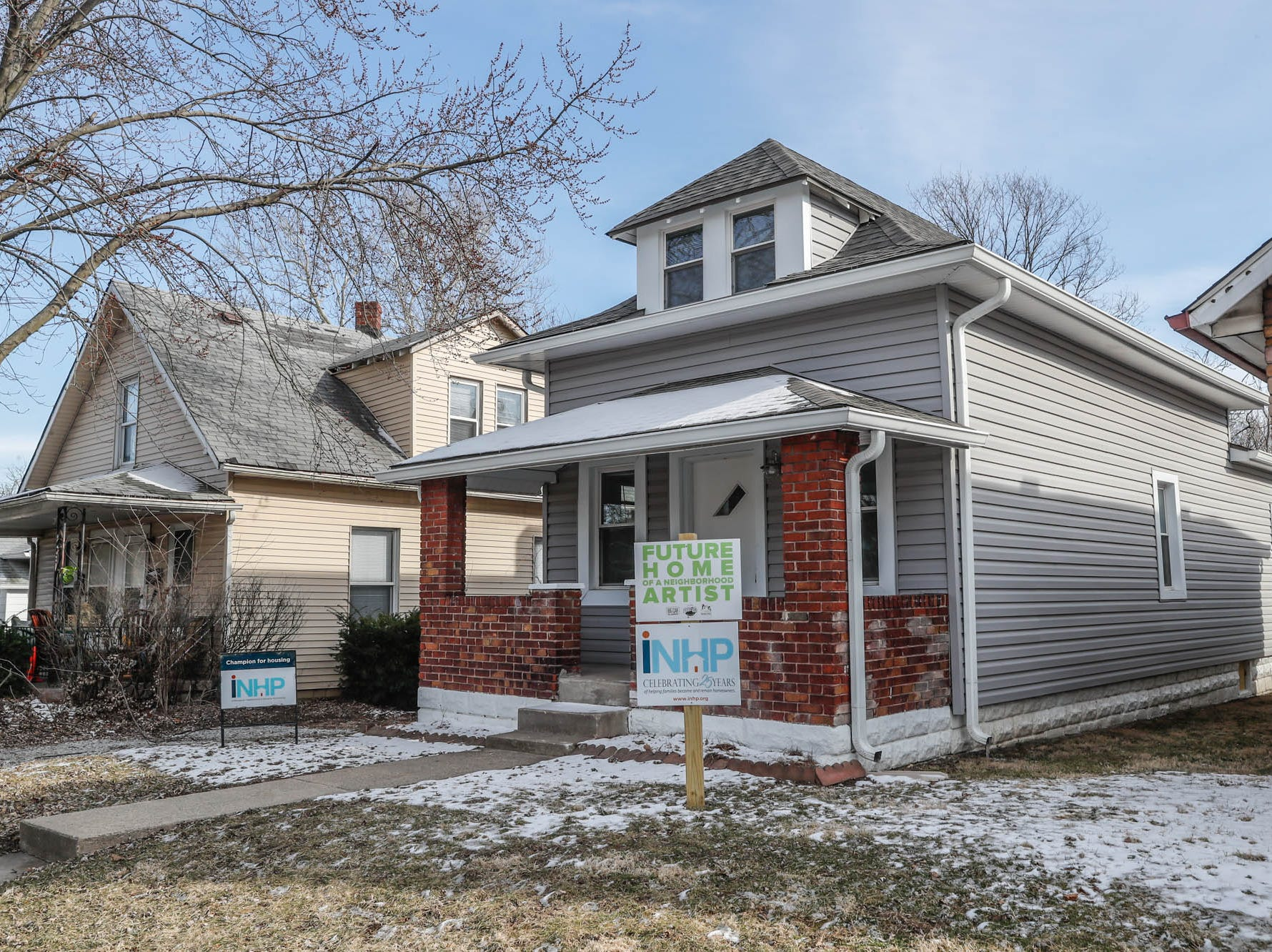 A newly remodeled home on Cruft St., affectionally known as the 'fish tank house' because the living room once featured an in-wall fish tank, is part of the Big Car Collaborative and Riley Area Development affordable artist home ownership program on the near south side of Indianapolis on Wednesday, March 6, 2019.  The goal of the Artist and Public Life Residency (APLR), will be to provide artists with home ownership while they work and collaborate with the greater community.