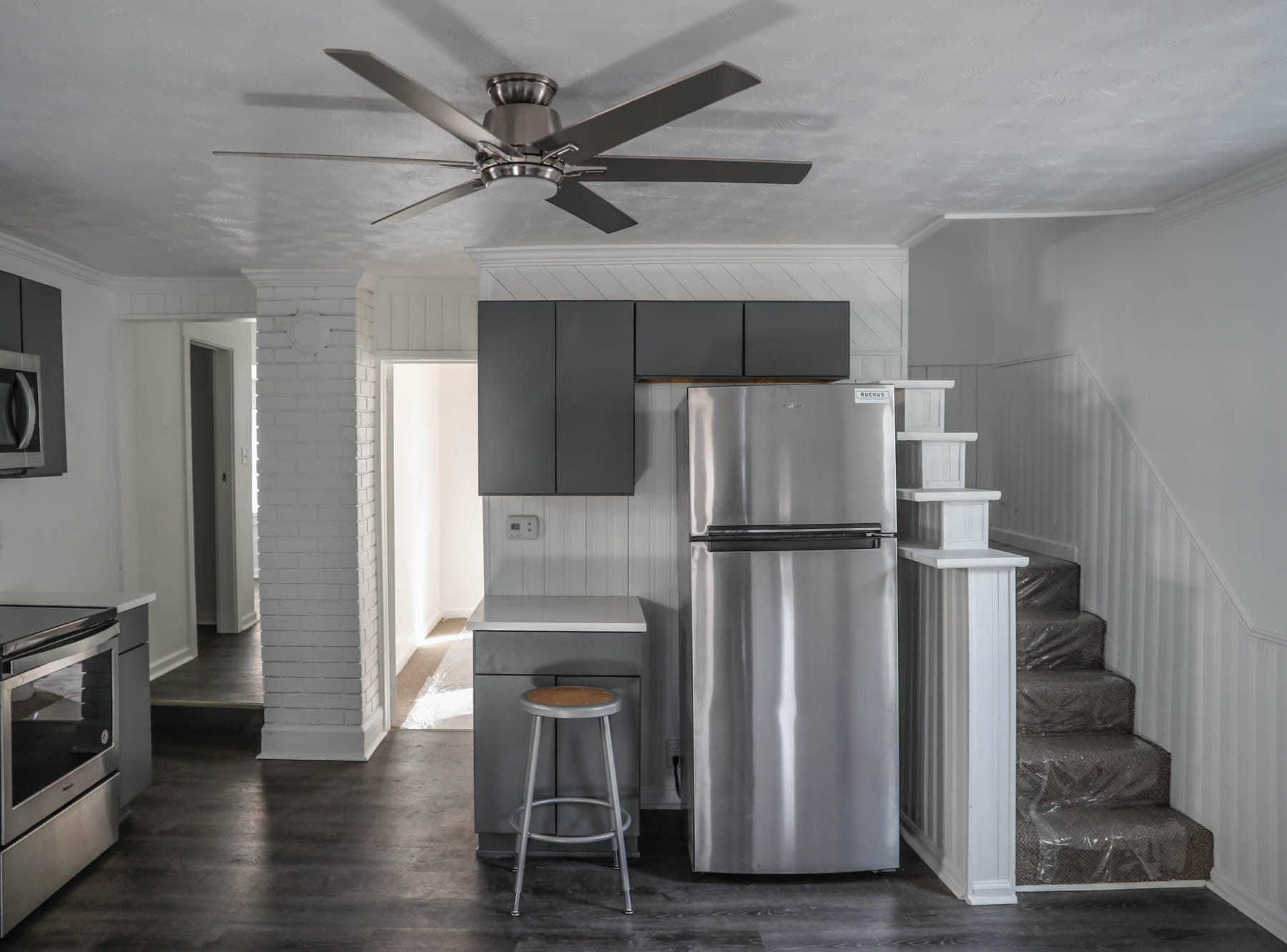 A newly remodeled home on Cruft St., affectionally known as the 'fish tank house' because the living room once featured an in-wall fish tank, now features a modern kitchen and is part of the Big Car Collaborative and Riley Area Development affordable artist home ownership program on the near south side of Indianapolis on Wednesday, March 6, 2019.  The goal of the Artist and Public Life Residency (APLR), will be to provide artists with home ownership while they work and collaborate with the greater community.