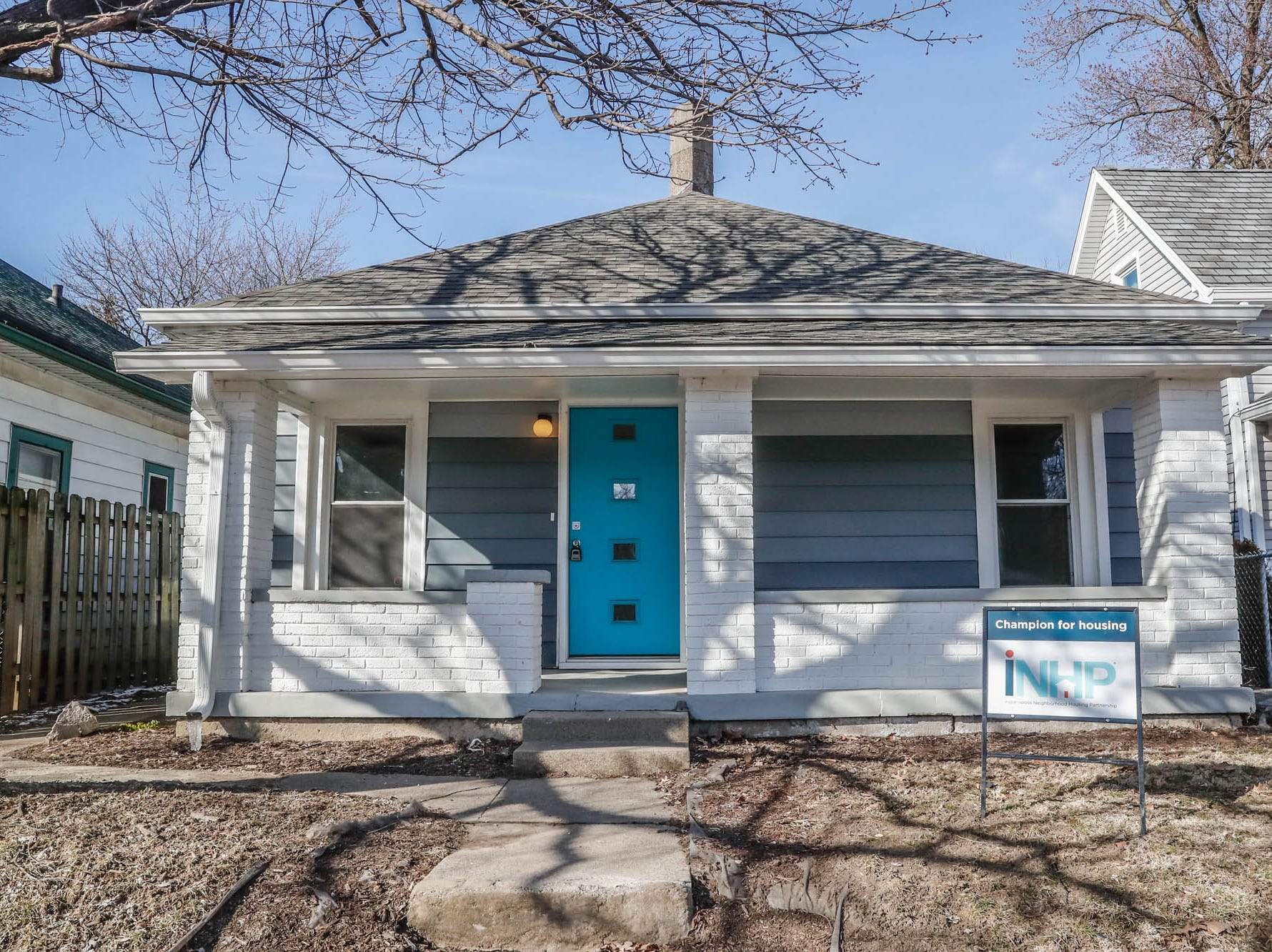 A newly remodeled home on Cruft St. is affectionally known as the 'gray house' and is part of the Big Car Collaborative and Riley Area Development affordable artist home ownership program on the near south side of Indianapolis on Wednesday, March 6, 2019. The renovation of this home was done by Axis Architecture and Big Car board member Ursula David. The goal of the Artist and Public Life Residency (APLR), will be to provide artists with home ownership while they work and collaborate with the greater community.