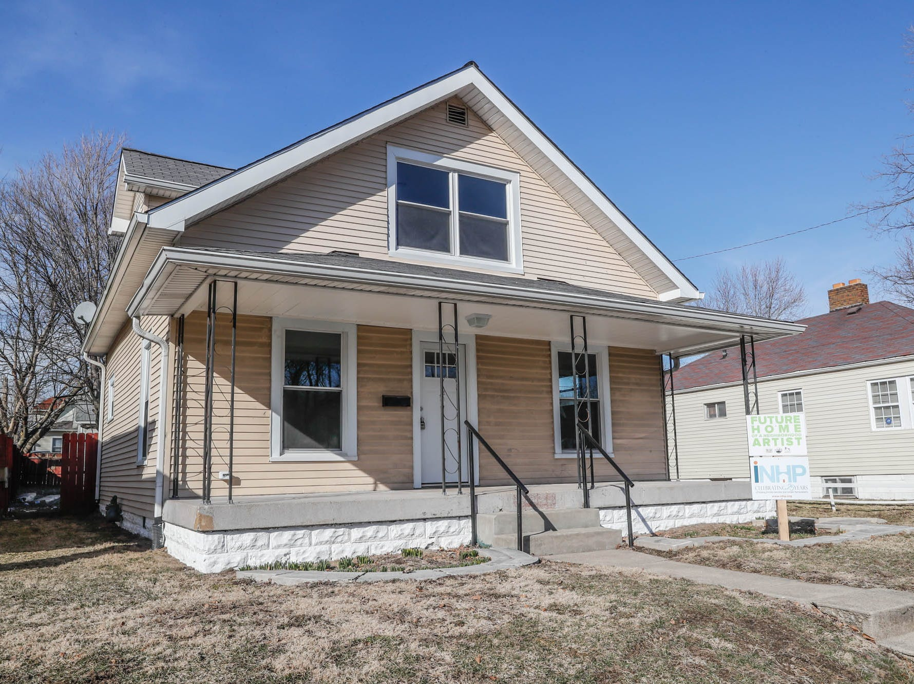 A newly remodeled home on Cruft St., affectionally known as the 'tan house' is part of the Big Car Collaborative and Riley Area Development affordable artist home ownership program on the near south side of Indianapolis on Wednesday, March 6, 2019. The home will be painted. The goal of the Artist and Public Life Residency (APLR), will be to provide artists with home ownership while they work and collaborate with the greater community.
