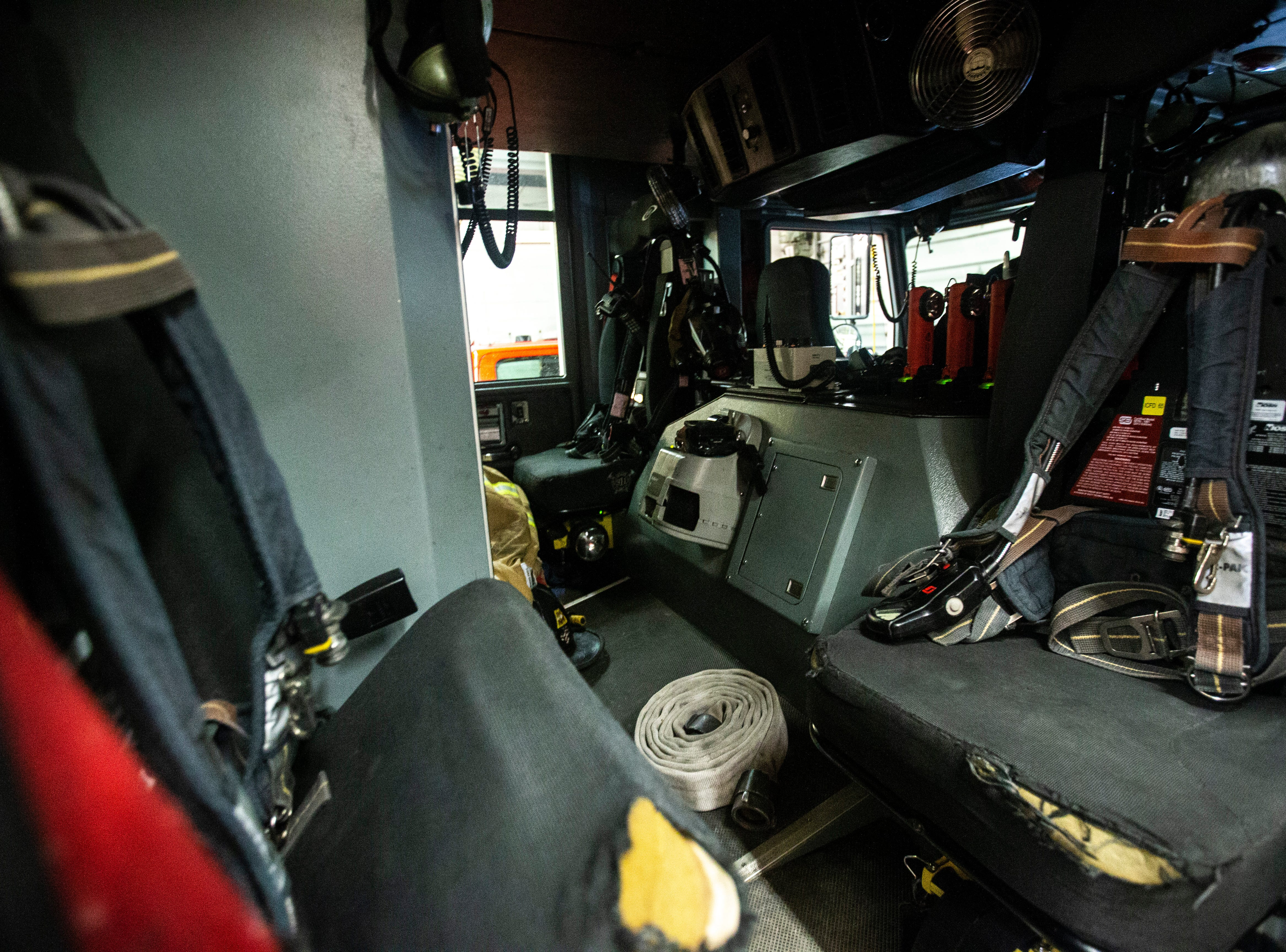 The back seat of a Iowa City Fire Department engine is seen on Thursday, March 7, 2019, inside Fire Station No. 1, at 10 South Gilbert Street in downtown Iowa City, Iowa. The station was opened January 1, 1961, the same day the previous station of 80 years was retired.