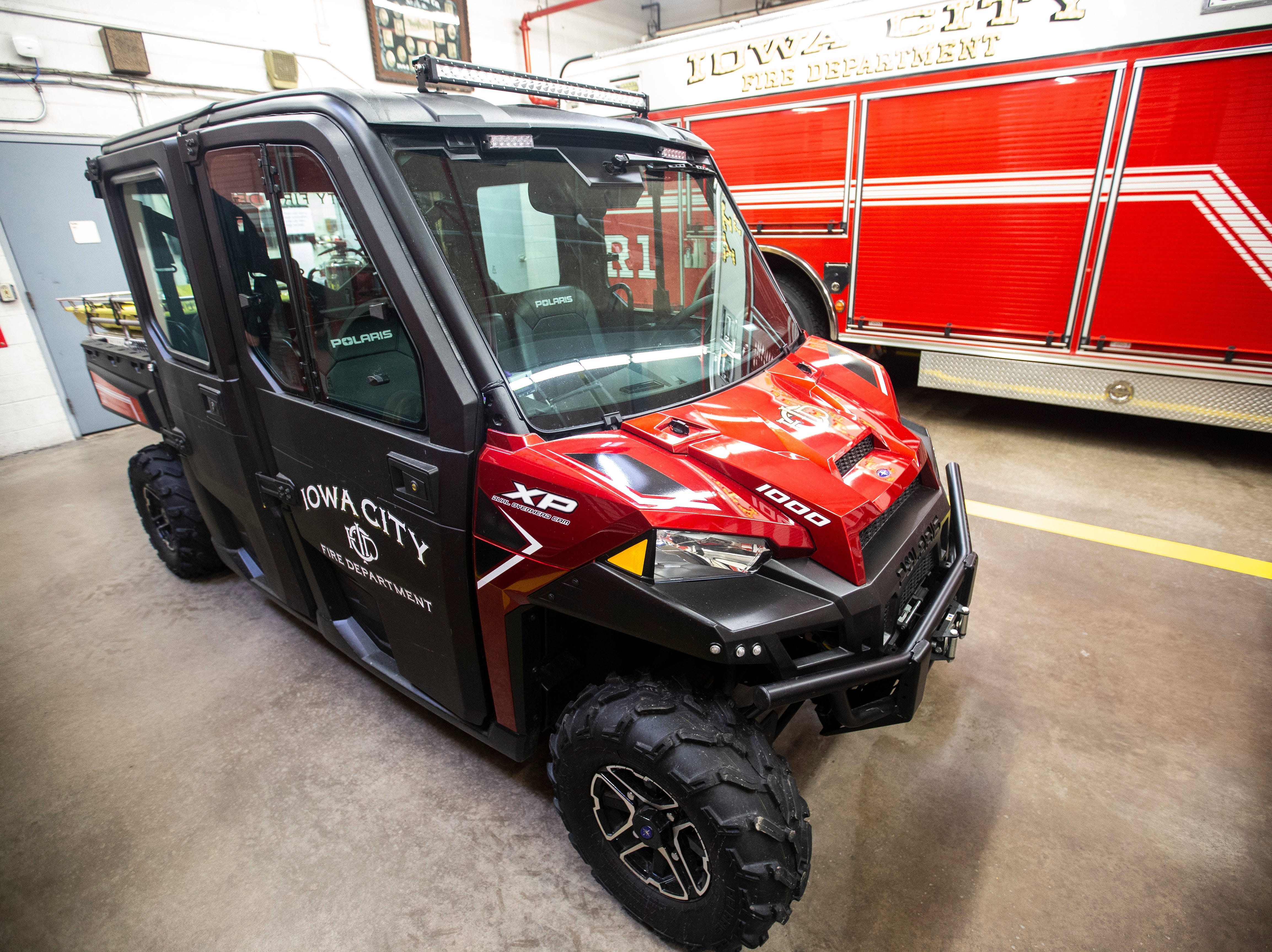 A Polaris Ranger XP sits in the garage on Thursday, March 7, 2019, inside Fire Station No. 1, at 10 South Gilbert Street in downtown Iowa City, Iowa.