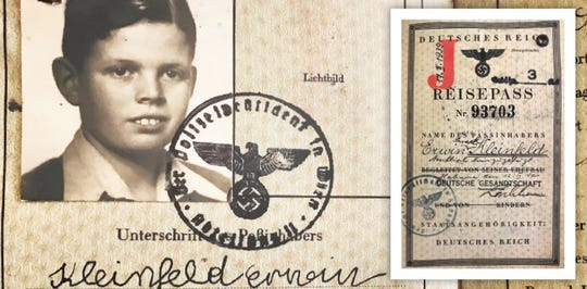 The face of a young Erwin Kleinfeld on this Hitler-era passport, complete with swastika symbols, does not reveal the turmoil facing his Jewish family in the late 1930s in Austria.