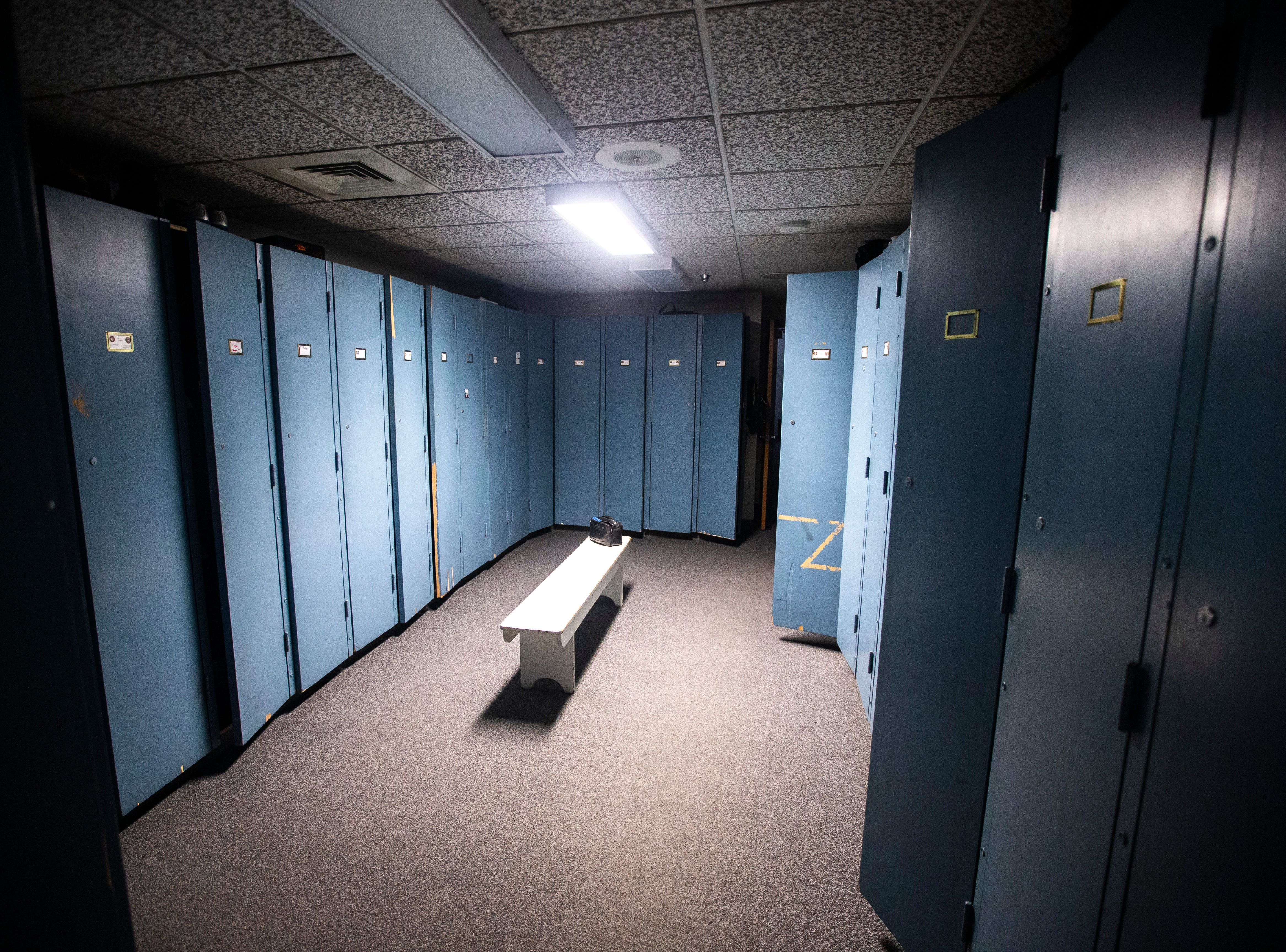 A locker room between the living quarters and an exercise space on Thursday, March 7, 2019, inside Fire Station No. 1, at 10 South Gilbert Street in downtown Iowa City, Iowa. The station was opened January 1, 1961, the same day the previous station of 80 years was retired.