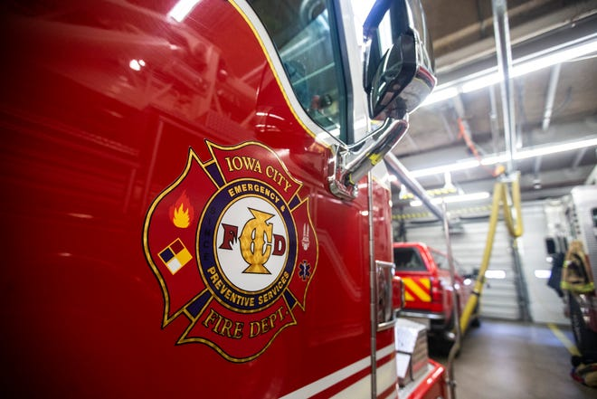 A seal of the Iowa City Fire Department, emergency preventive services, is seen on Thursday, March 7, 2019, inside Fire Station No. 1, at 10 South Gilbert Street in downtown Iowa City, Iowa.