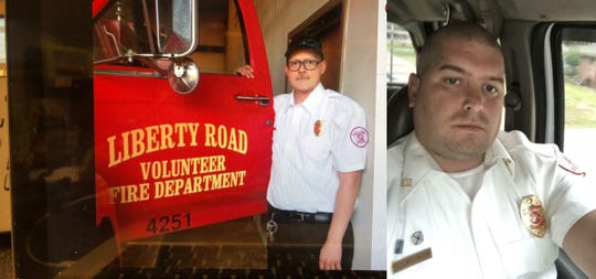Jason Haley, left, and Troy Whittington, volunteer Adams County firefighters, were killed Friday, March 1.