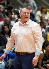 Pearl coach Jason Kennedy yells instructions against Greenville during the MHSAA 6A Girls Basketball Championship Semi Finals held at the Mississippi Coliseum in Jackson, MS, Tuesday March 6th, 2019.(Bob Smith-For the Clarion Ledger)