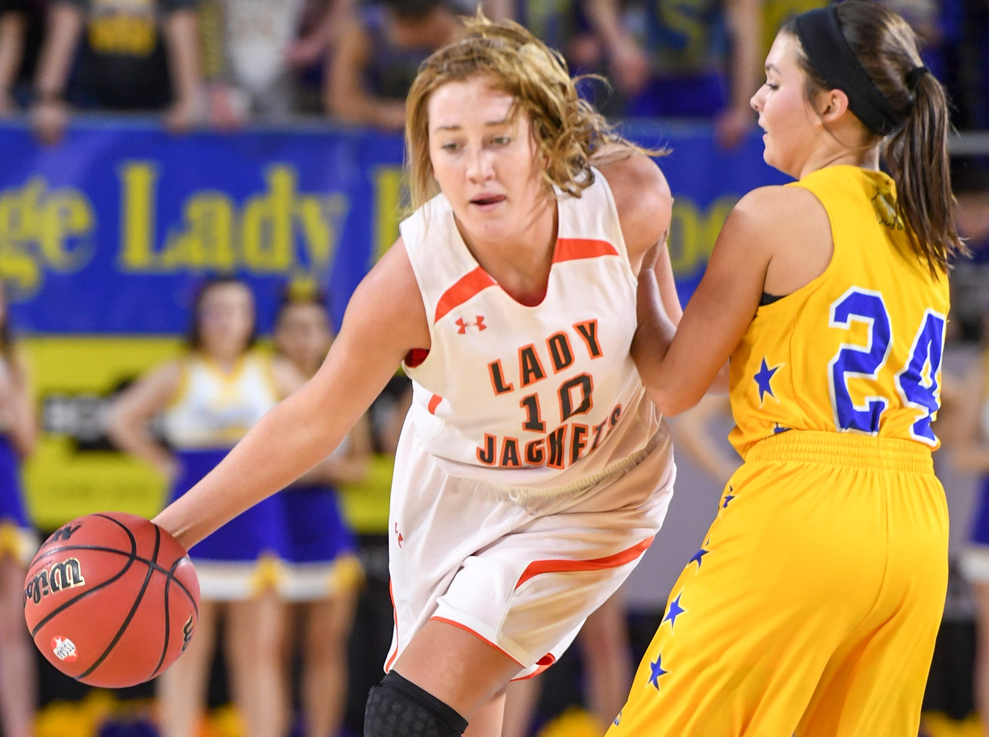 Greenfield's Tess Darby (10) dribbles past Clarkrange's Kaylie Monday (24) during their Class A quarterfinal game, Thursday, March 7, 2019, in Murfreesboro. Greenfield Lady Jackets defeated Clarkrange 64-45.