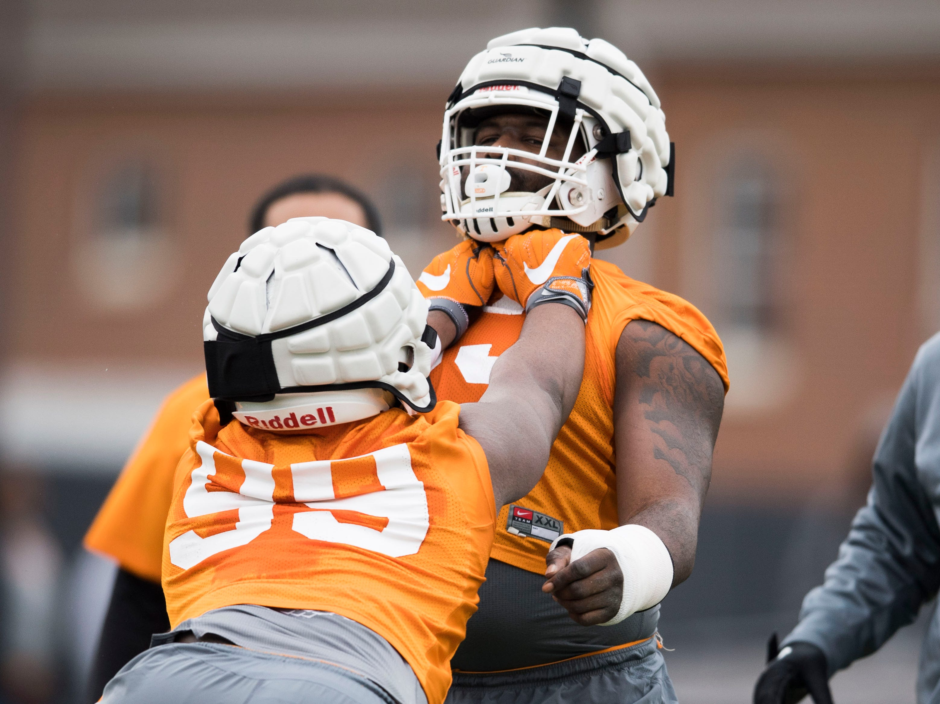 Players participate in a drill during Tennessee football's first practice of the spring season at University of Tennessee Thursday, March 7, 2019.