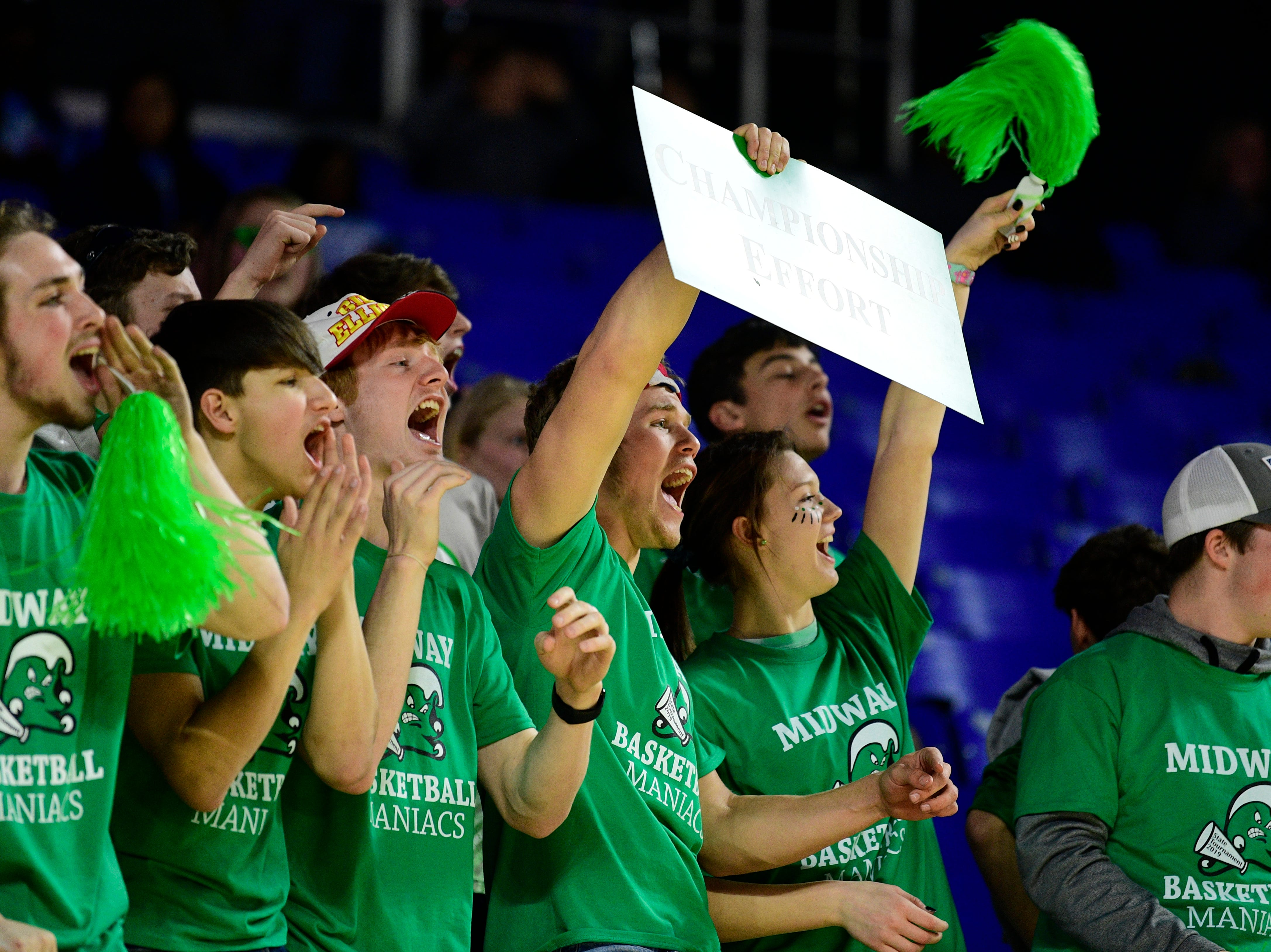 Midway students cheer during a game between Eagleville and Midway at the TSSAA girls state tournament at the Murphy Center in Murfreesboro, Tennessee on Thursday, March 7, 2019.