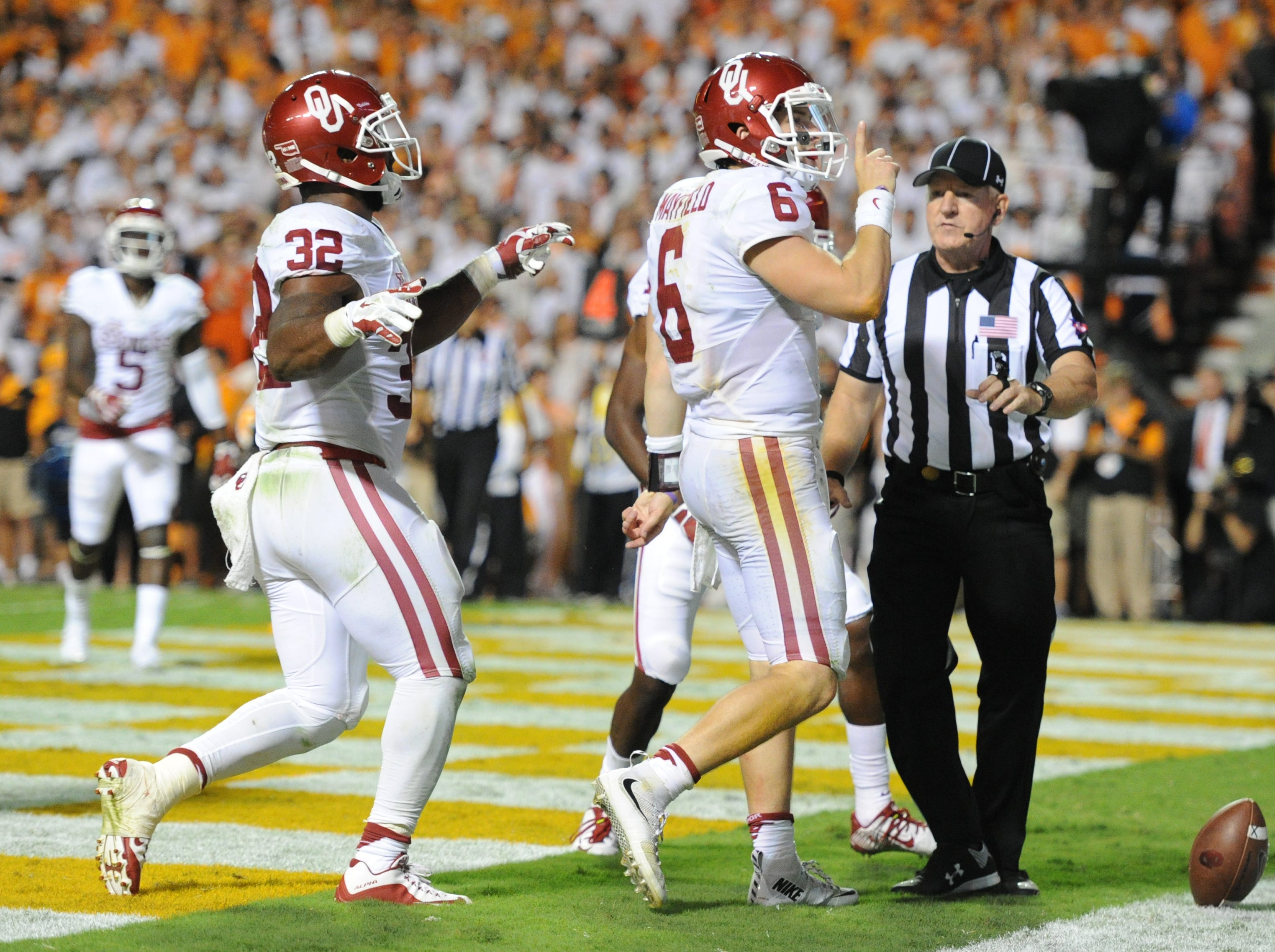 Oklahoma quarterback Baker Mayfield (6) shushes the crowd after scoring a touchdown in the first overtime period against Tennessee at Neyland Stadium on Saturday, Sept. 12, 2015 in Knoxville, Tenn. Oklahoma won 31-24.
