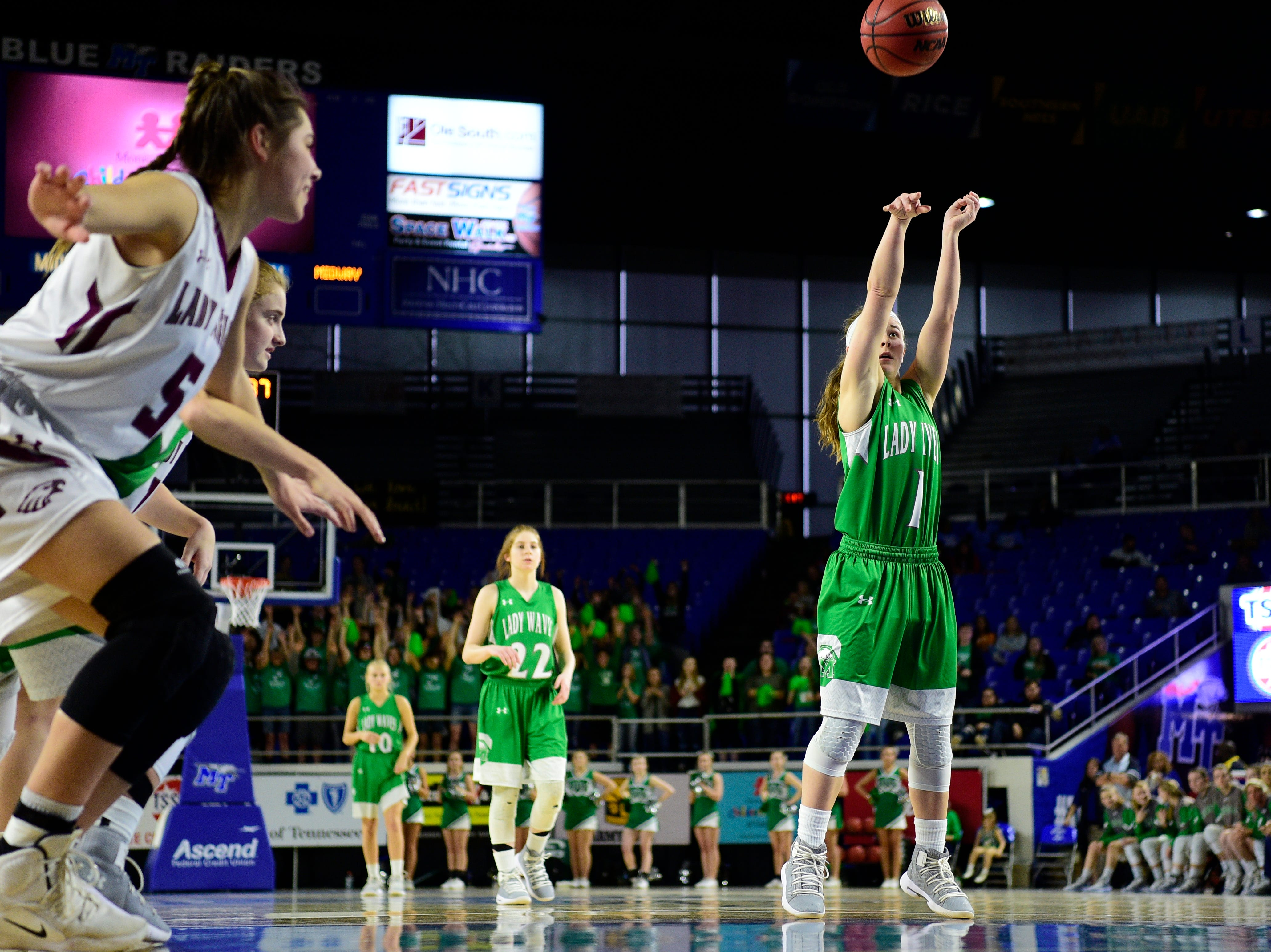 Midway's Caitlyn Ross (1) shoots a free-throw during a game between Eagleville and Midway at the TSSAA girls state tournament at the Murphy Center in Murfreesboro, Tennessee on Thursday, March 7, 2019.
