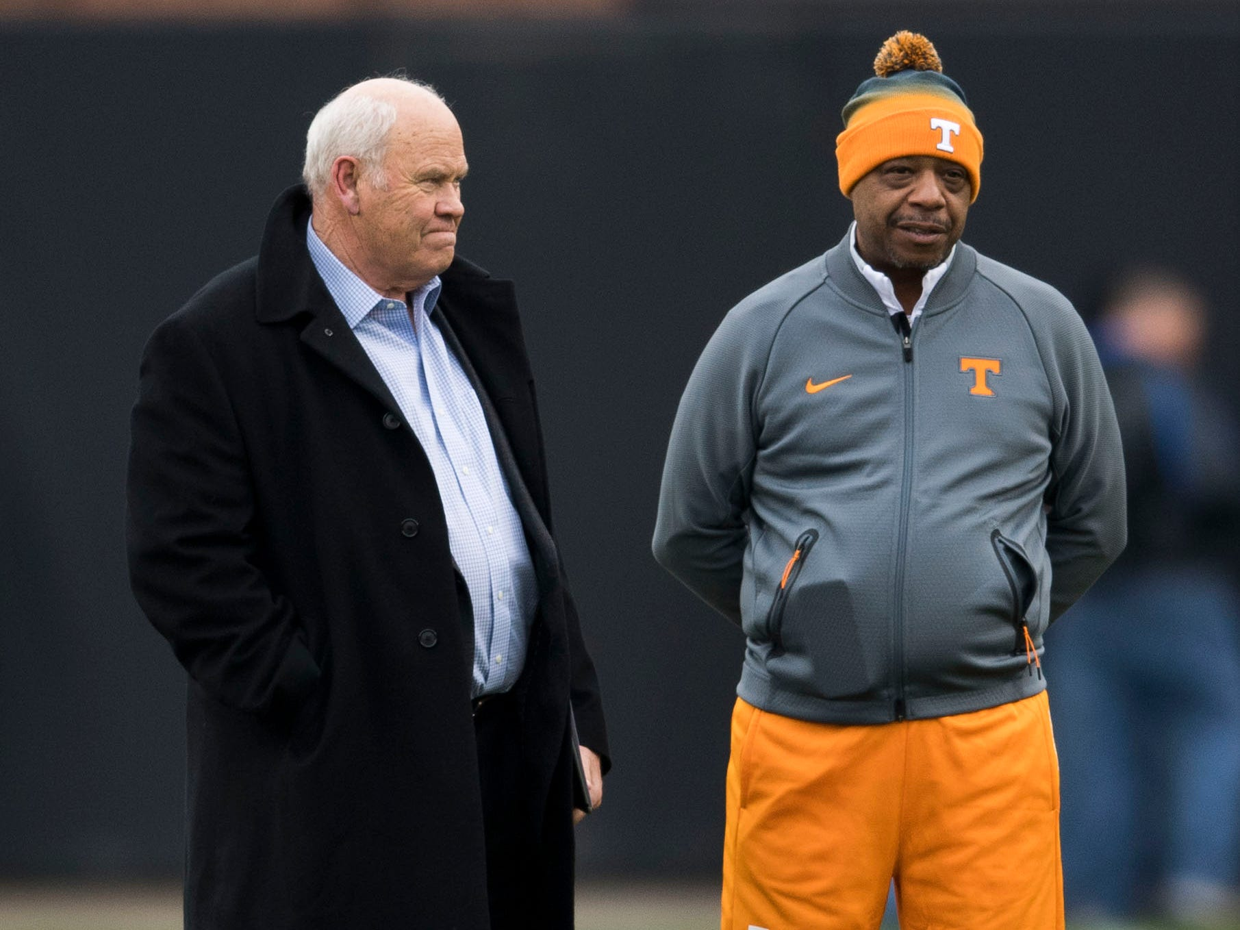 At left Tennessee athletic director Phillip Fulmer watches during Tennessee football's first practice of the spring season at University of Tennessee Thursday, March 7, 2019.