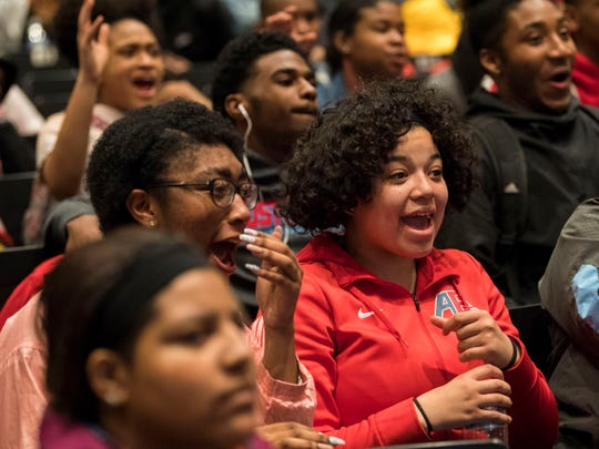 Austin-East High students react after hearing Belk will be covering the prom expensesÑtickets, dresses, formal wear, hair, makeup and moreÑfor the senior class during an event held at Austin-East on Thursday, March 7, 2019.