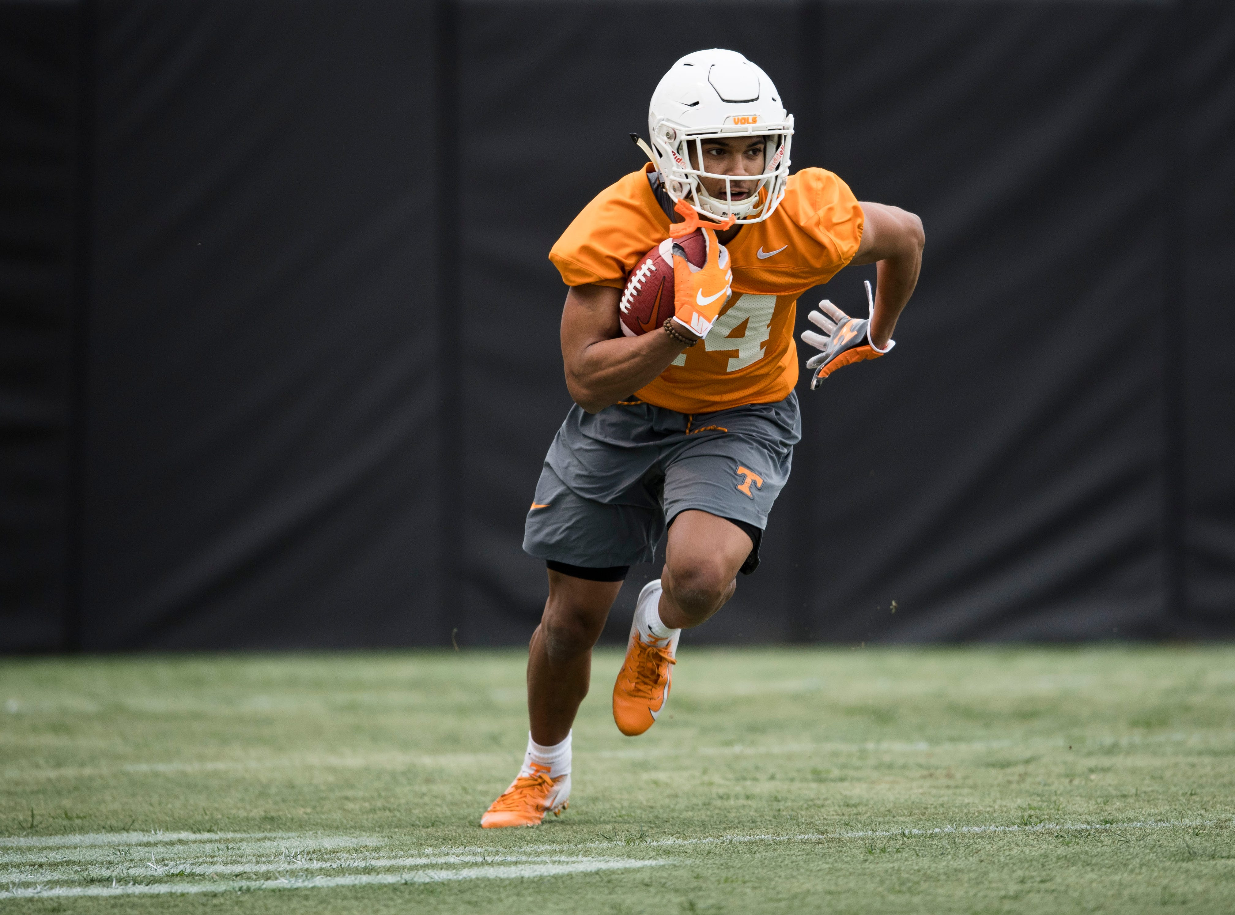 Tennessee's Cheyenne Labruzza (44) participates in a drill during Tennessee football's first practice of the spring season at University of Tennessee Thursday, March 7, 2019.