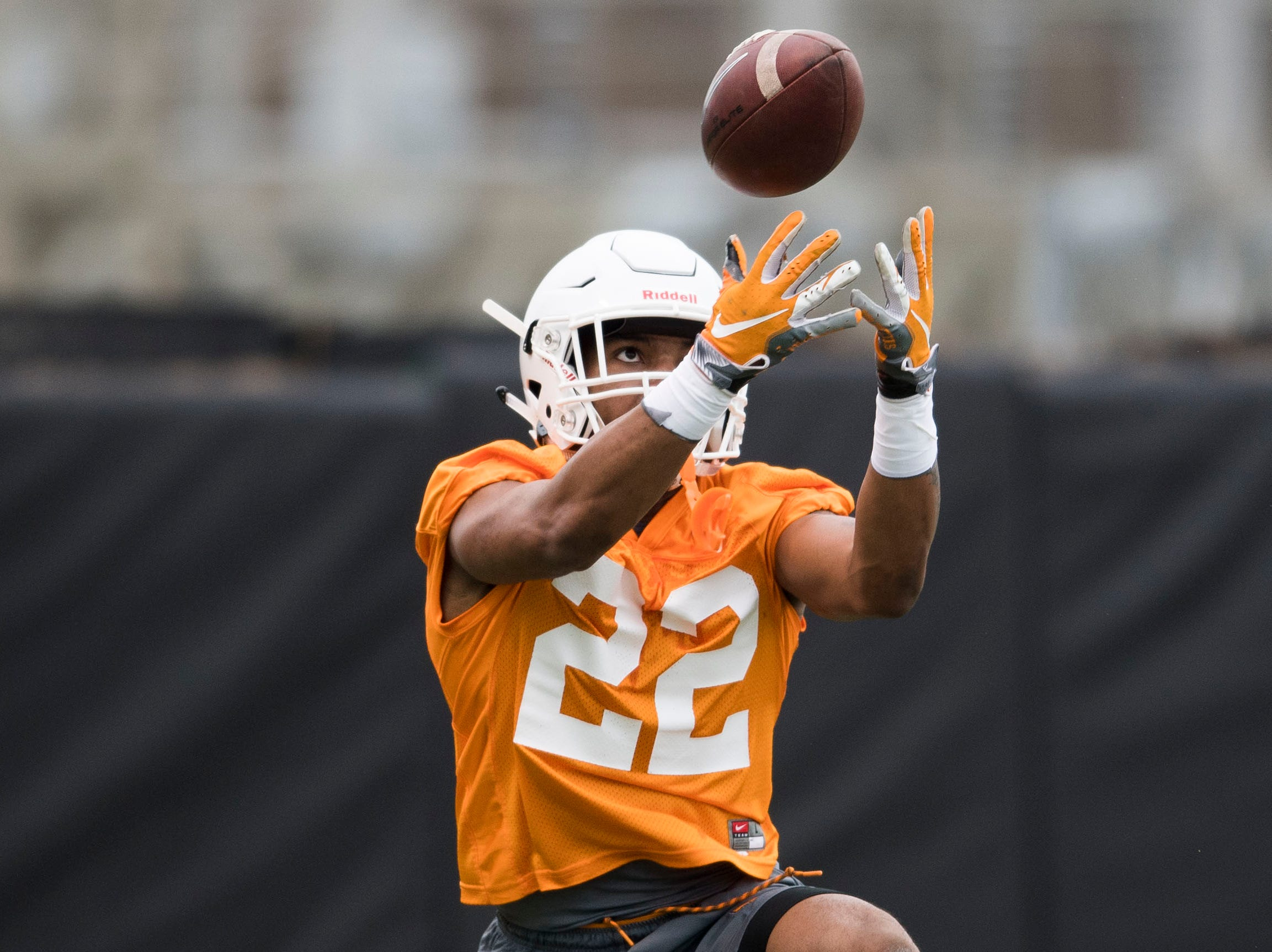 Tennessee's Jaylen McCollough (22) participates in a drill during Tennessee football's first practice of the spring season at University of Tennessee Thursday, March 7, 2019.