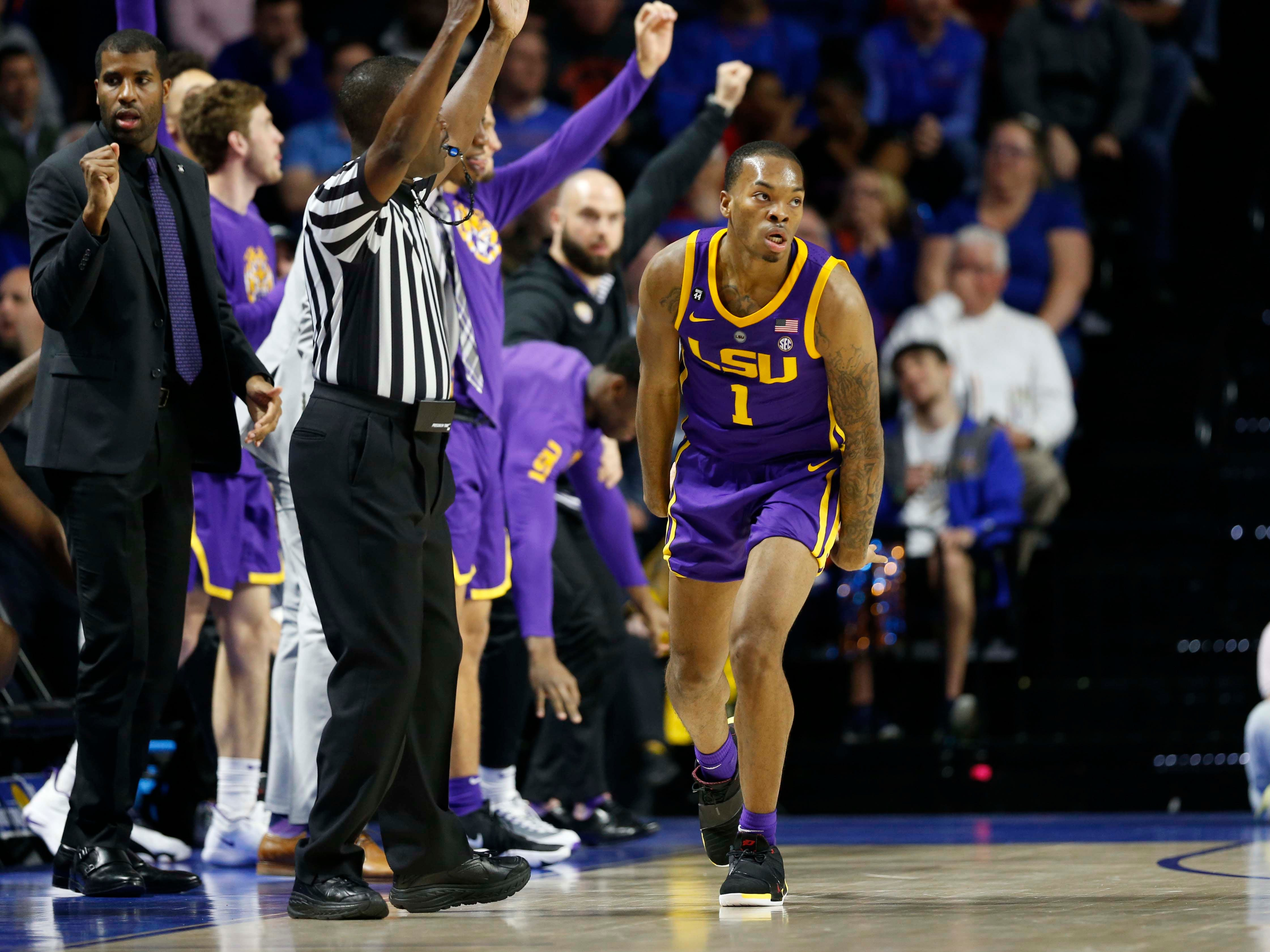 Mar 6, 2019; Gainesville, FL, USA; LSU Tigers guard Javonte Smart (1) celebrates as he makes a three pointer against the Florida Gators  during the second half at Exactech Arena. Mandatory Credit: Kim Klement-USA TODAY Sports