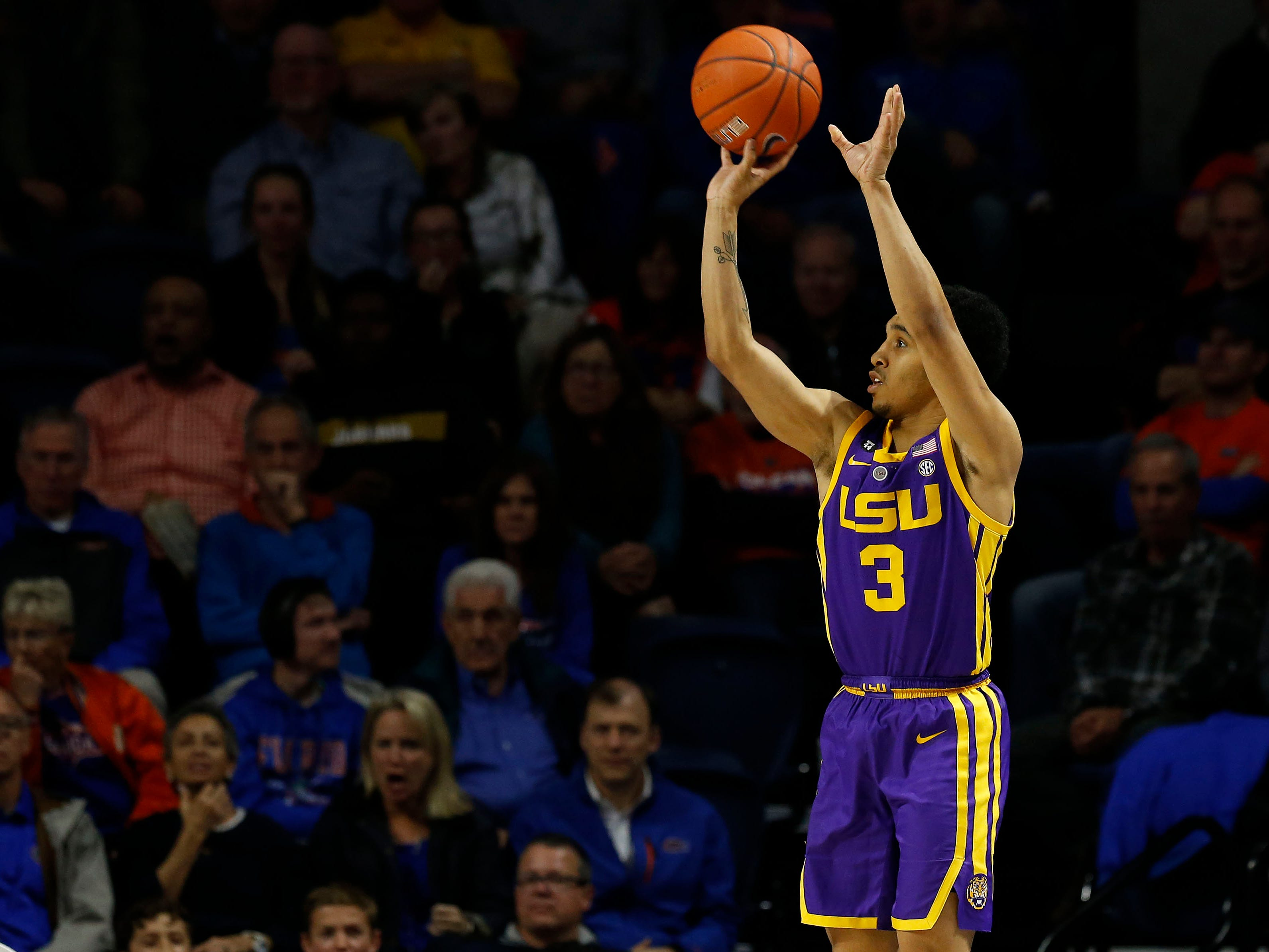 Mar 6, 2019; Gainesville, FL, USA; LSU Tigers guard Tremont Waters (3) shoots the ball against the Florida Gators during the second half at Exactech Arena. Mandatory Credit: Kim Klement-USA TODAY Sports