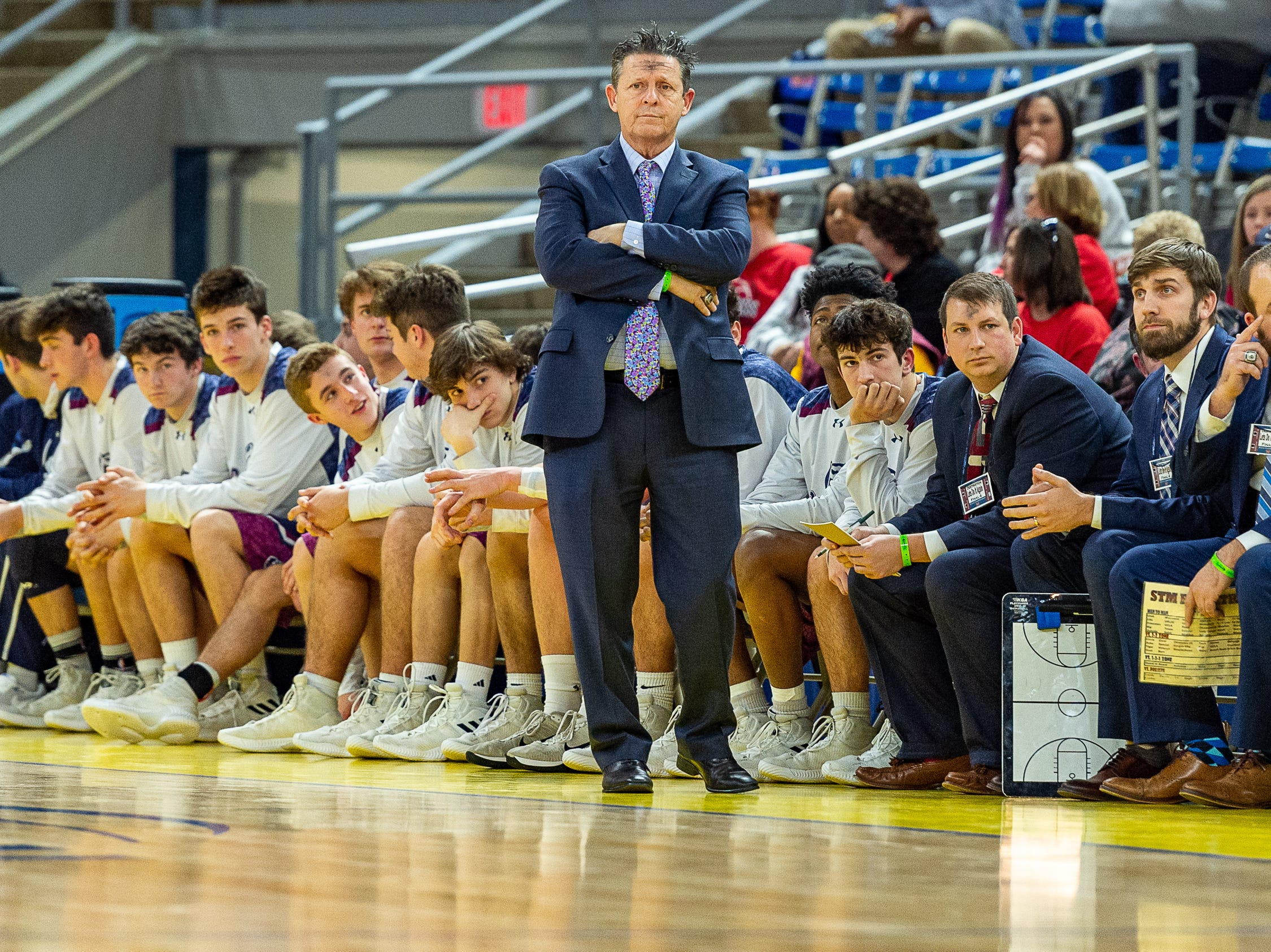 Head Coach Danny Broussard as STM takes down University High in the semi final round of the LHSAA Basketball State Championships. Wednesday, March 6, 2019.