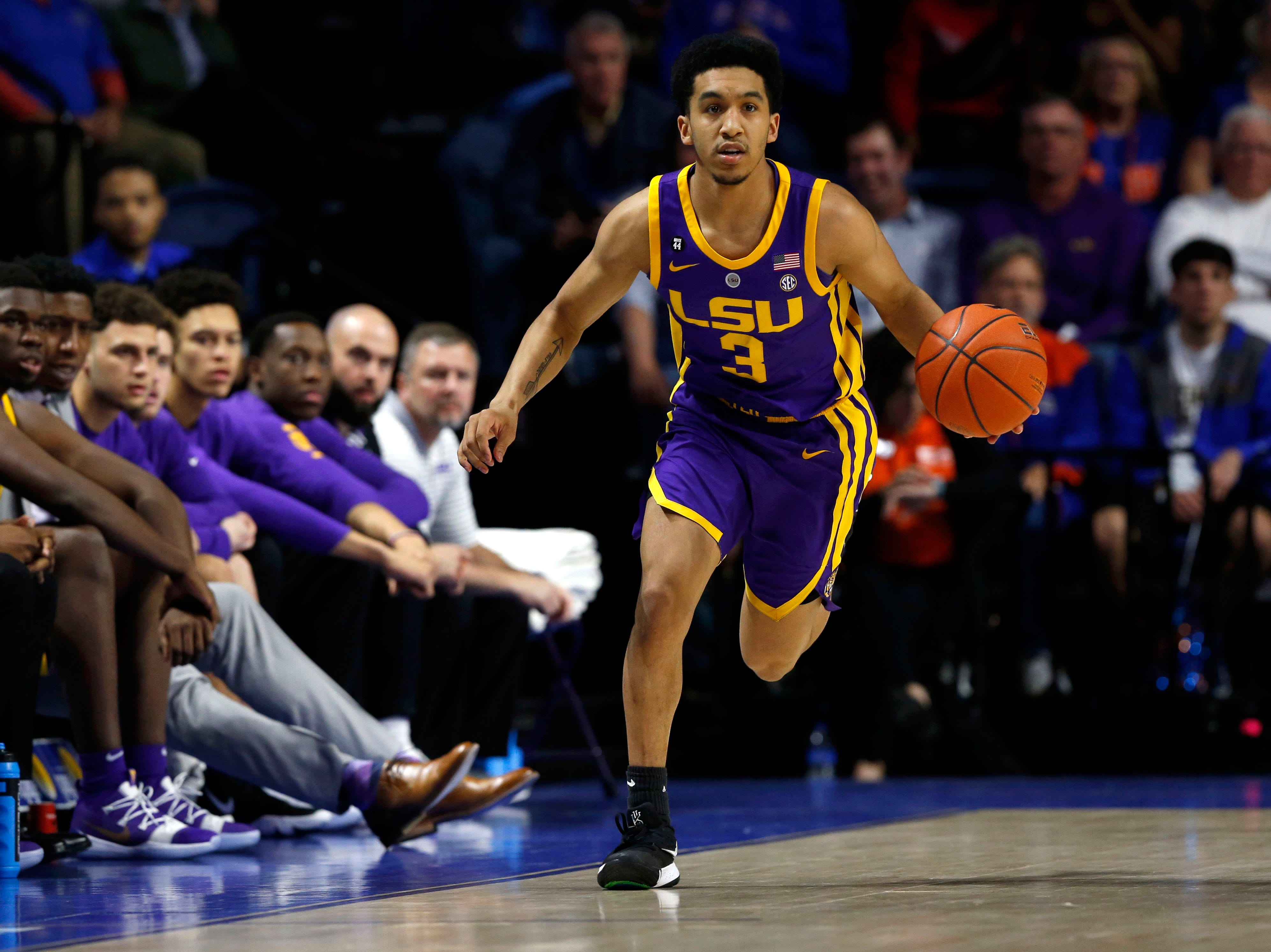 Mar 6, 2019; Gainesville, FL, USA;LSU Tigers guard Tremont Waters (3) dribbles up court against the Florida Gators during the first half at Exactech Arena. Mandatory Credit: Kim Klement-USA TODAY Sports