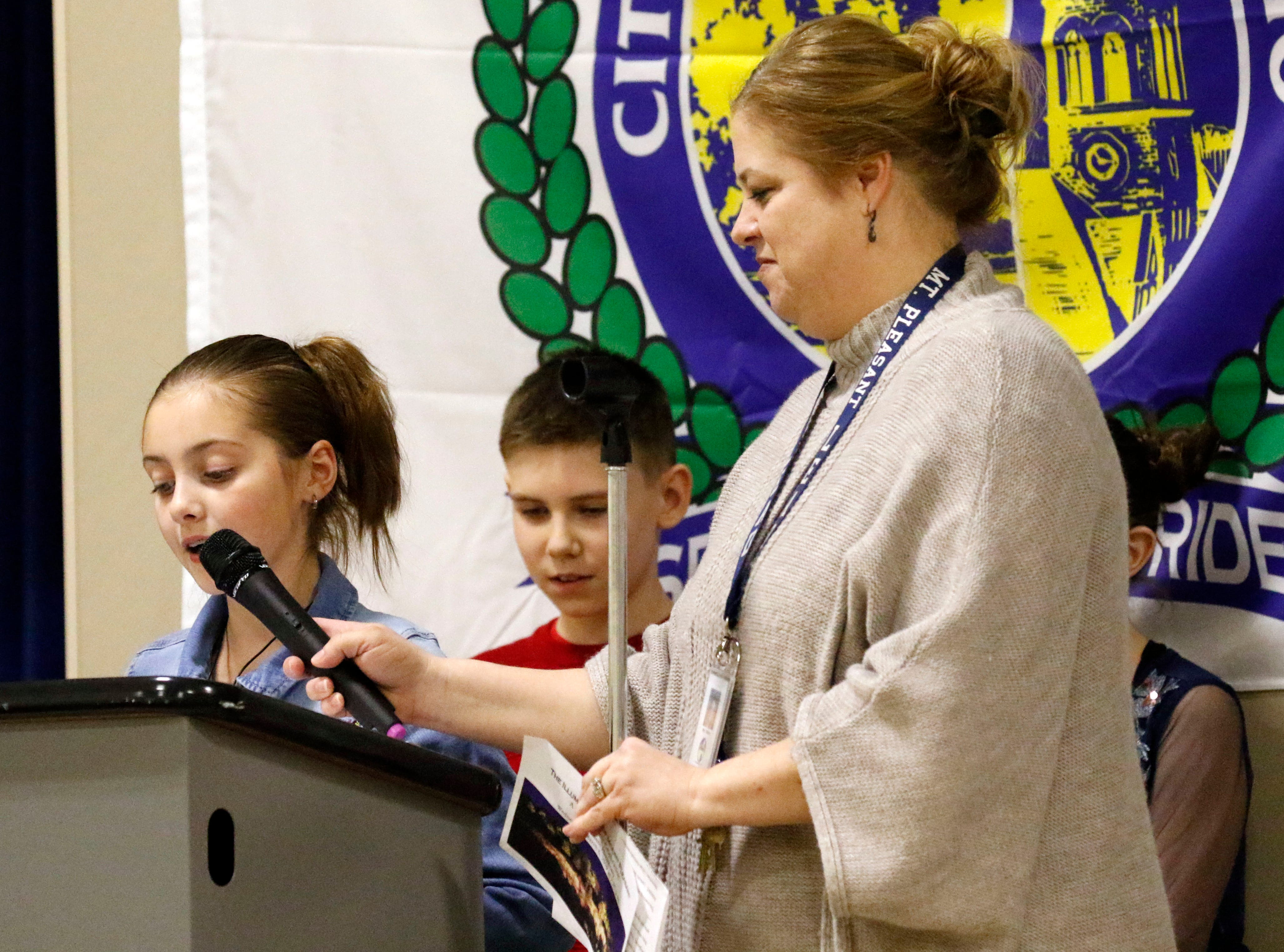 Mount Pleasant Elementary students speak during a ceremony to celebrate the lighting of Mount Pleasant Wednesday, March 6, 2019, at Mount Pleasant Elementary in Lancaster.
