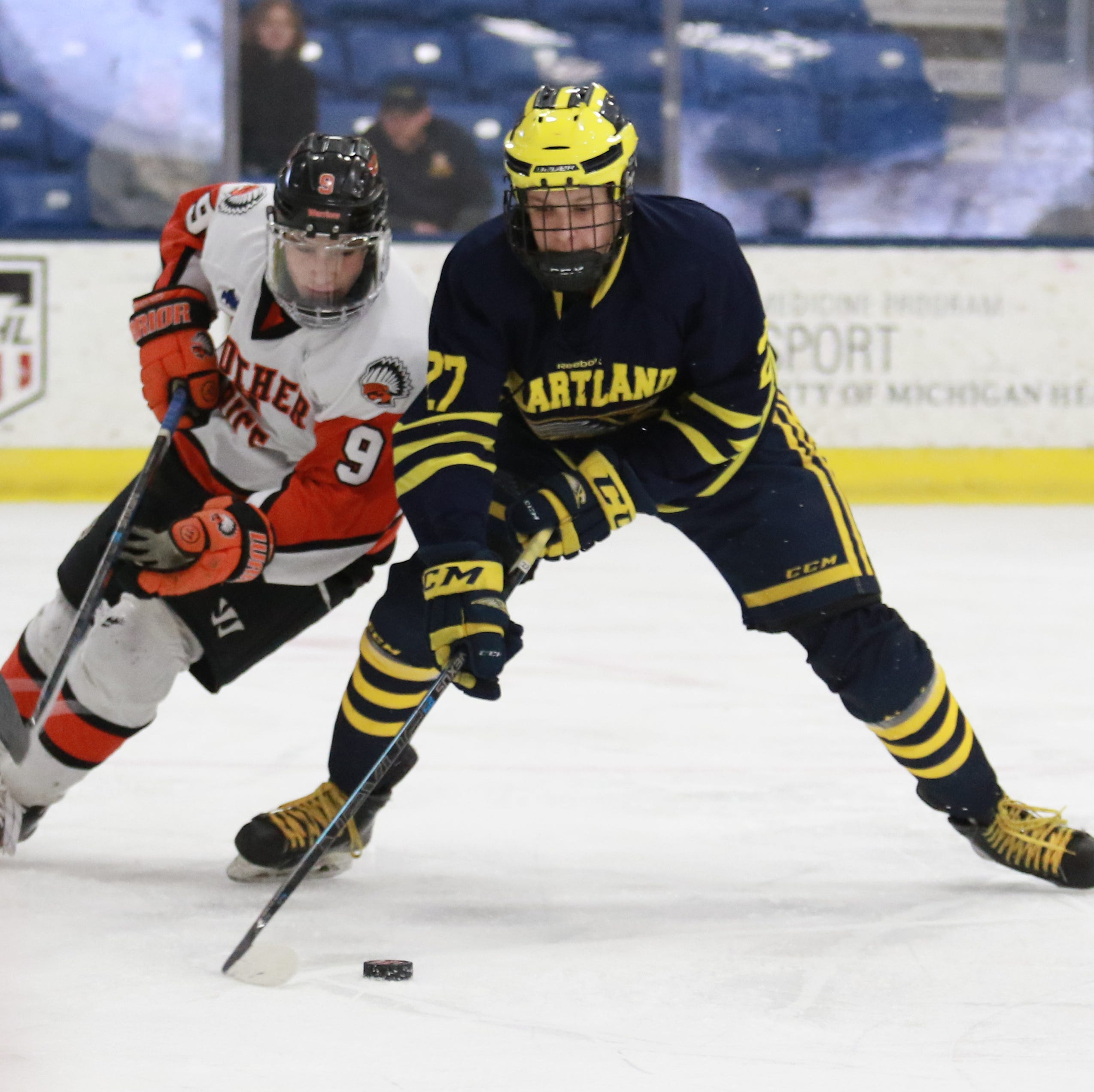 Hartland one win from state hockey repeat after dominating Birmingham Brother Rice