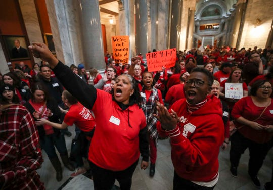 Hundreds of Kentucky teachers chanted, yelled and carried signs on March 7 to protest HB 205. JCPS did not have school due to the teacher sick outs.