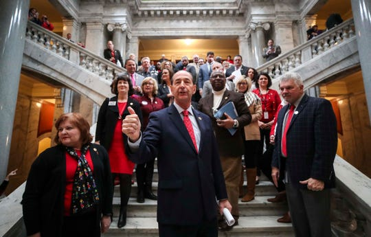 Rep. Rocky Adkins thanks teachers from the steps that lead toward the House of Representatives at the state capitol during a 'sickout' protest in March.