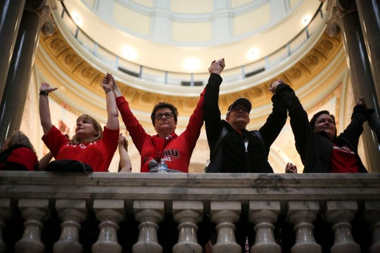 Teachers and supporters show solidarity at the Kentucky Capitol during one of the JCPS 'sickout' days during the recent legislative session.
