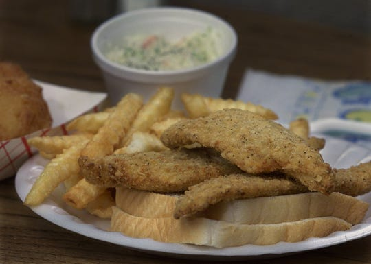 Fried fish sandwich and crinkly fries from Hill Street Fish Fry. April 20, 2000