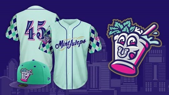 The Derby City Mint Juleps jersey, hat and logo. The Mint Juleps are a 2019 rebrand of the Louisville Bats. March 7, 2019