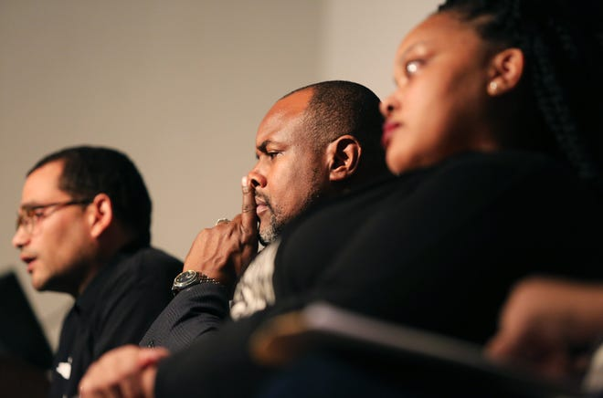 Oct. 26, 2015 - From left: Dr. Chris Johnson, Assistant Professor of History, University of Memphis, speaks during a discussion with Dr. Andre Johnson, Assistant Professor of Communications, University of Memphis; and Tami Sawyer  during a #BlackLivesMatter panel at Rhodes College.