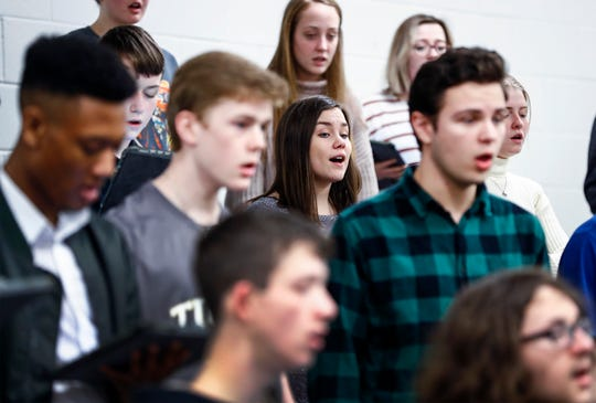 "Members of the Arlington High School Chorale perform the song ""Irish Blessings"" during a recent rehearsal. A group of 40 student will travel to Normandy, France 2020 to perform in the closing commemoration ceremonies of the D-Day Invasion remembrance event."