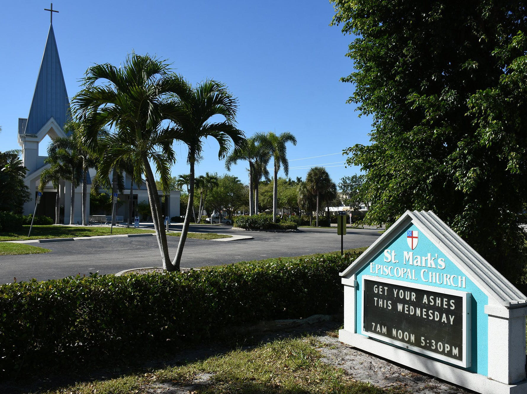 A sign outside St. Mark's Episcopal Church invites worshippers in for Ash Wednesday. Catholics on Marco Island and around the world, along with many other Christians, celebrated Ash Wednesday by attending mass and having a cross drawn on their foreheads in ashes.