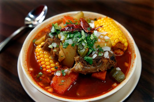Mole de olla, a soup typical of the Mexican state of Tlaxcala, is served at El Tlaxcalteca restaurant, 1300 W. Burnham St.